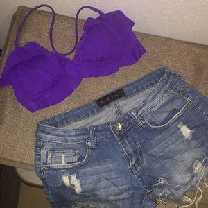 Victoria's Secret ruffled purple bikini top